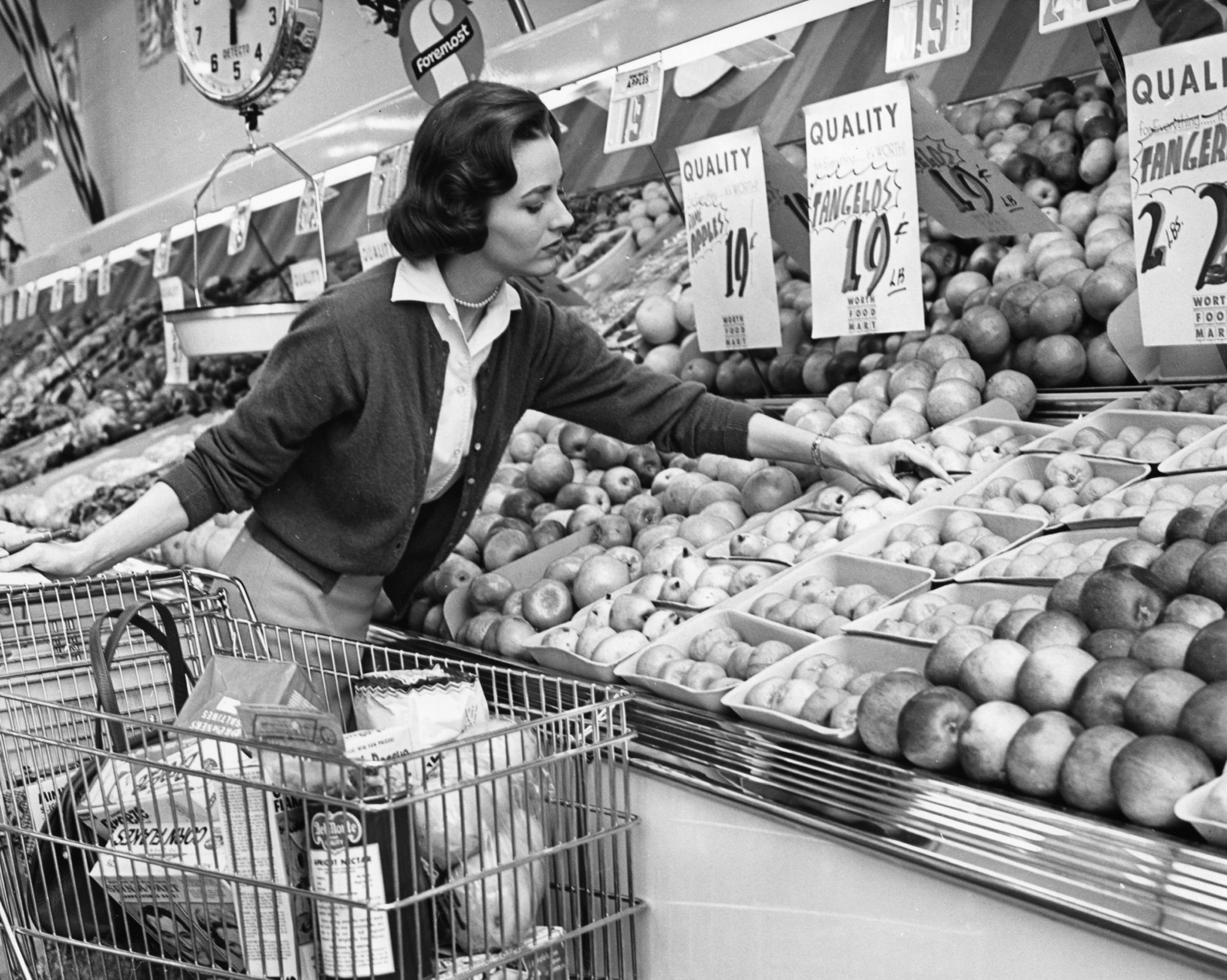 Vintage Woman Grocery Shopping