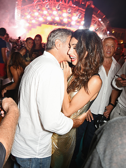 George Clooney , Amal Clooney on August 23, 2015 in Ibiza, Spain.