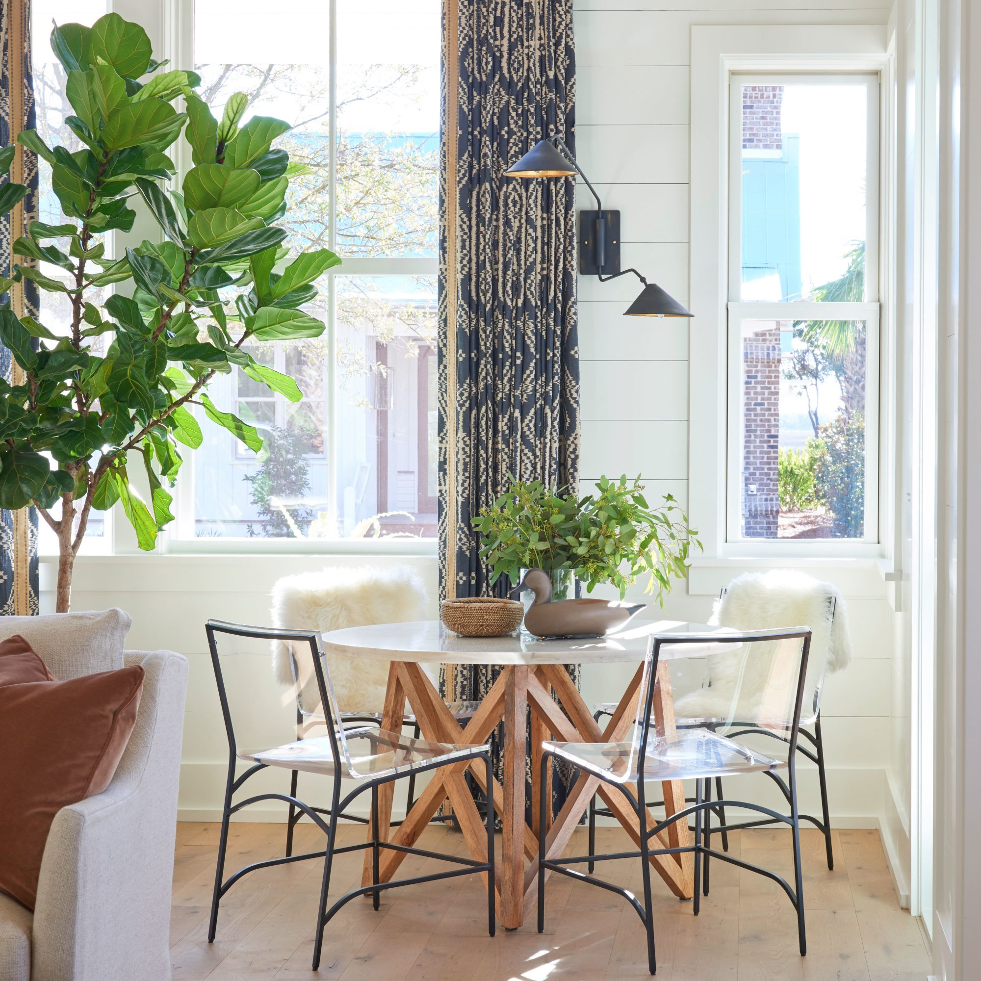 A contemporary breakfast nook table in a Lowcountry house.