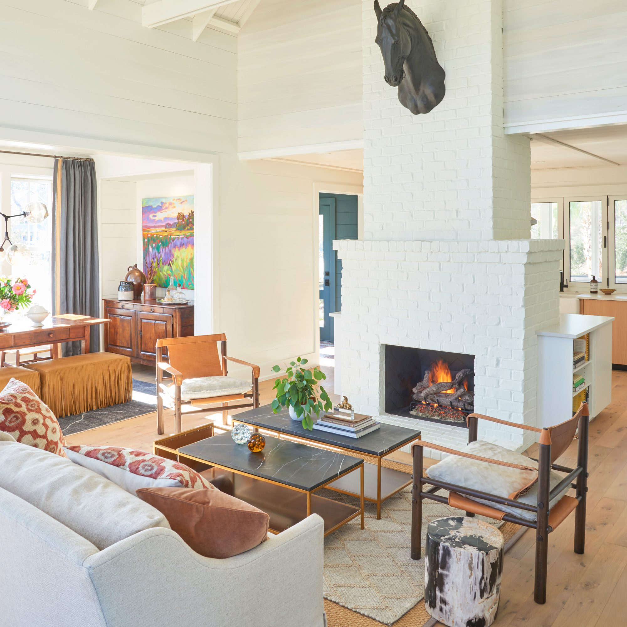 A lofty open-concept living room in a contemporary Lowcountry home.