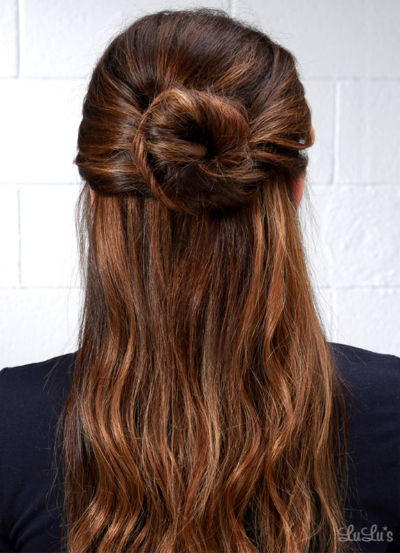 4th of July Hairstyle Half-Up Bun