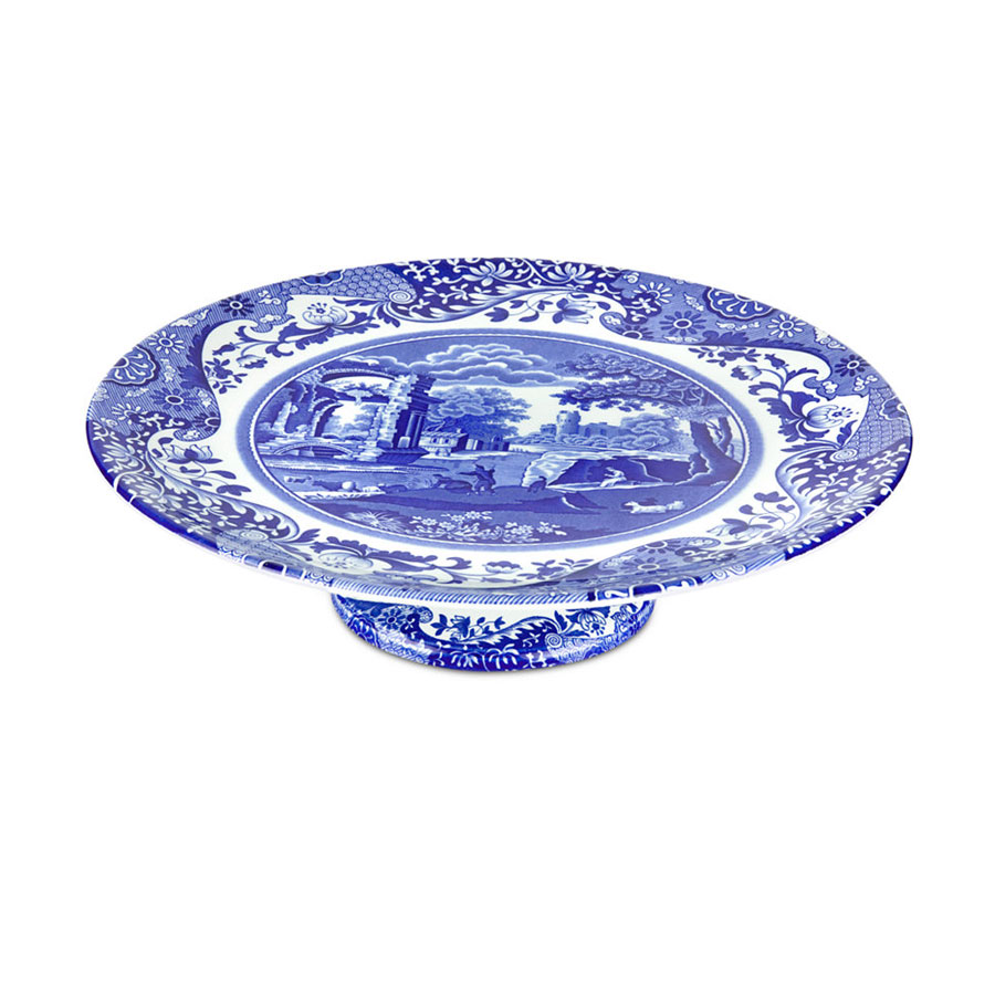 Macy's Spode Blue and White Cake Stand