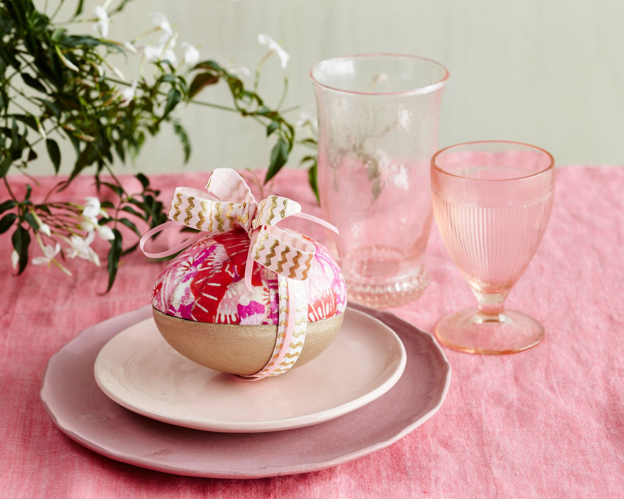 Pink and Gold Paper Mache Egg with Ribbon