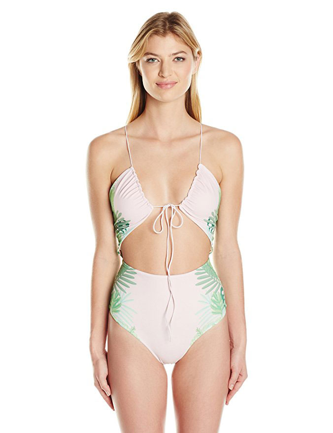 Pink and Green Palms Cut Out One Piece