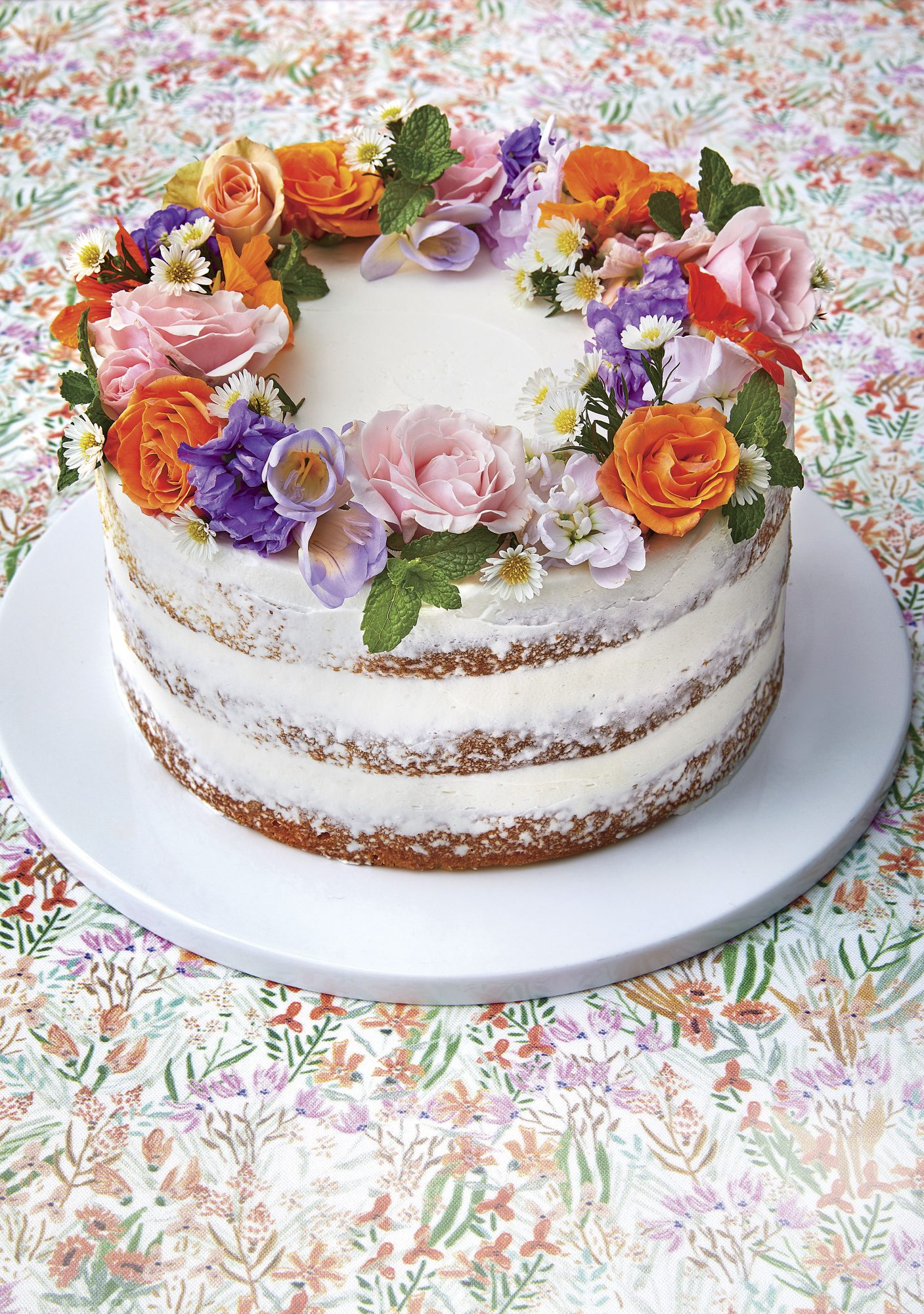 Naked Lemon Cake with Flower Crown