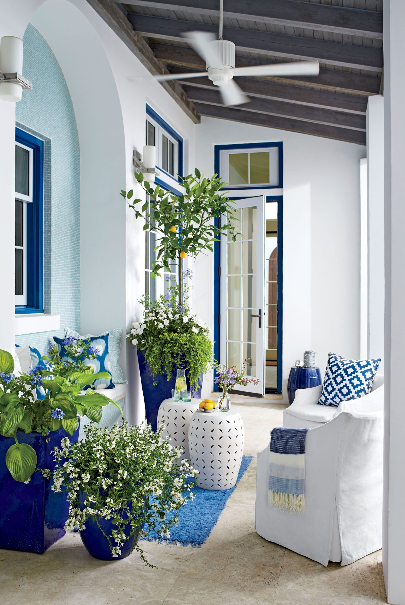 Blue and White Spring Container