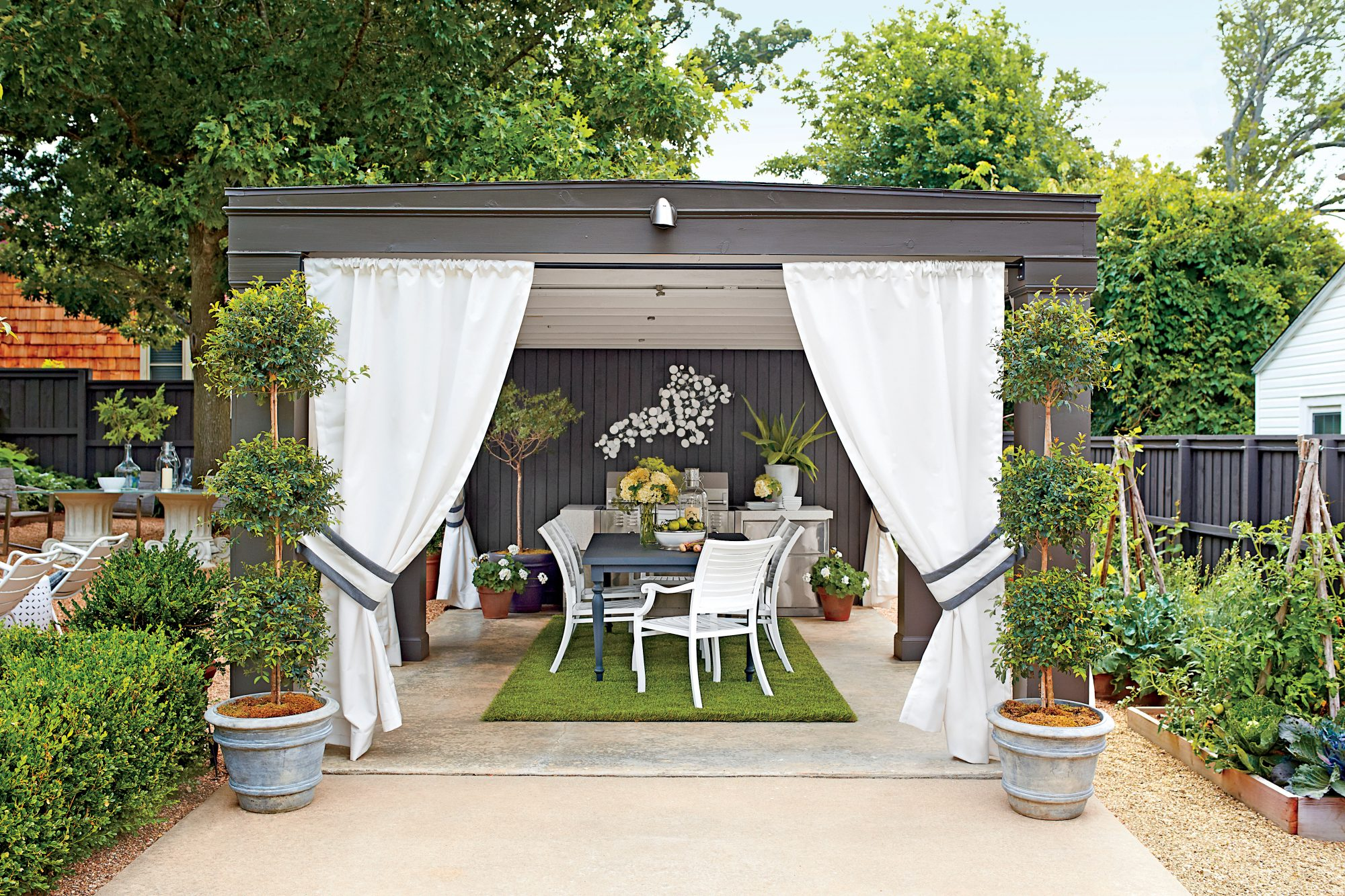 Grey and White Outdoor Cabana