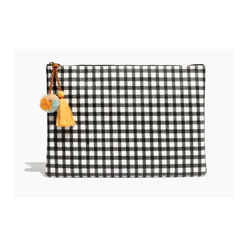 Gingham Tassel Clutch