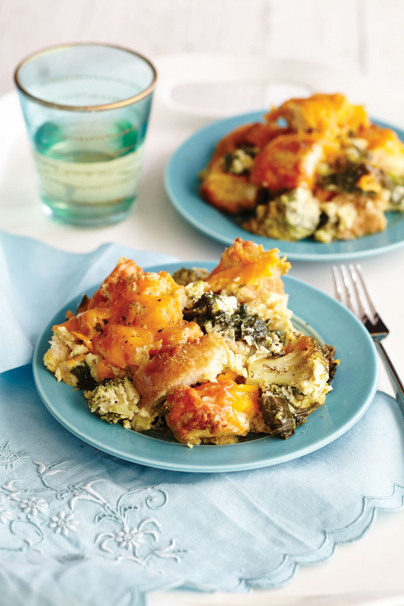 Spinach-and-Broccoli Breakfast Bread Pudding