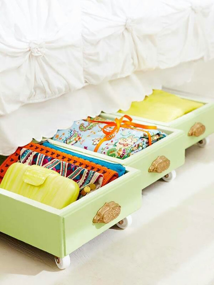Old Drawers Turned into Under-Bed Storage
