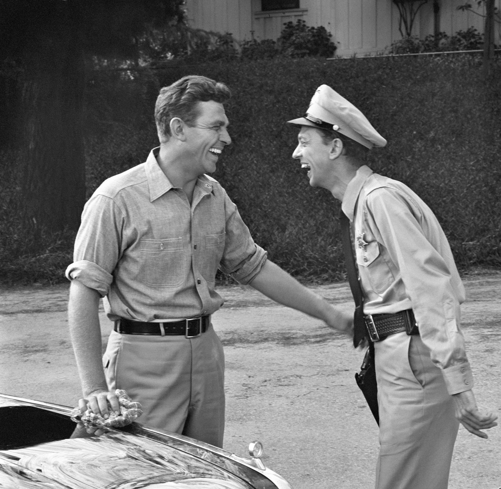 Barney Fife and Andy Taylor Laughing