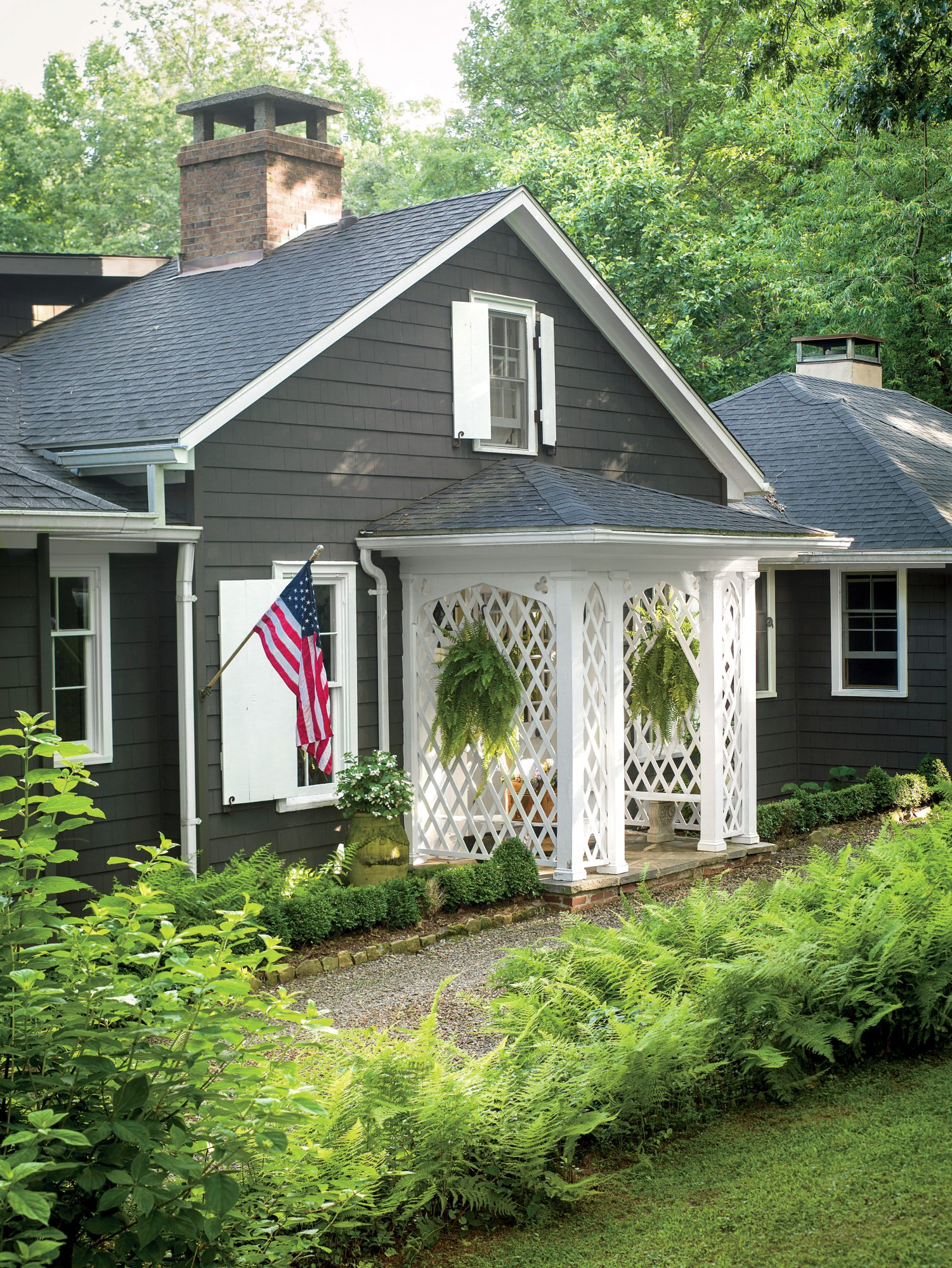 White Latticed Front Porch