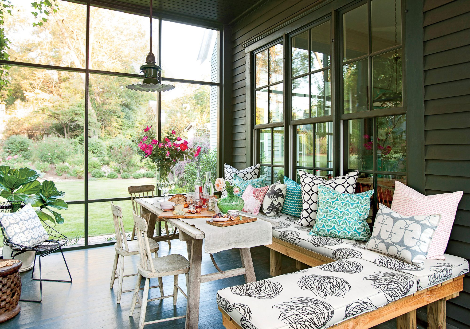 Screened Porch with Sectional and Dining Table
