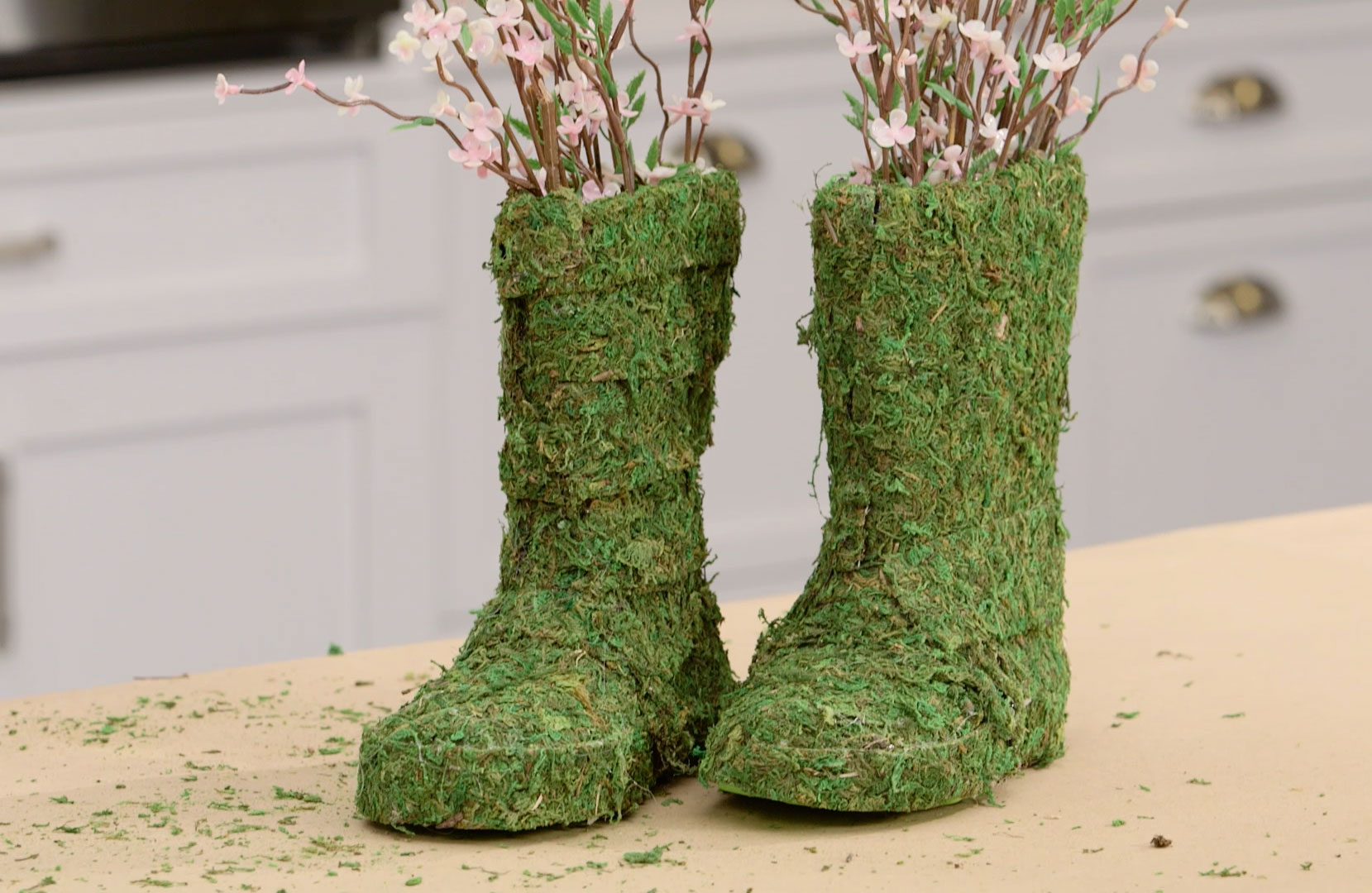 Craft Moss-Covered Rainboot Bouquets
