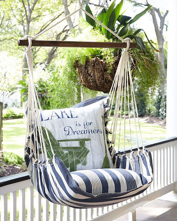 Swing with Lake Pillow Outdoor Furniture