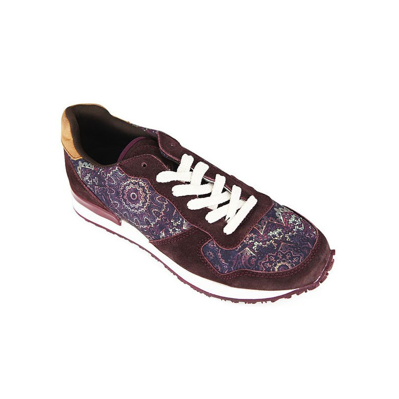 Purple Printed Lace-Up Sneakers