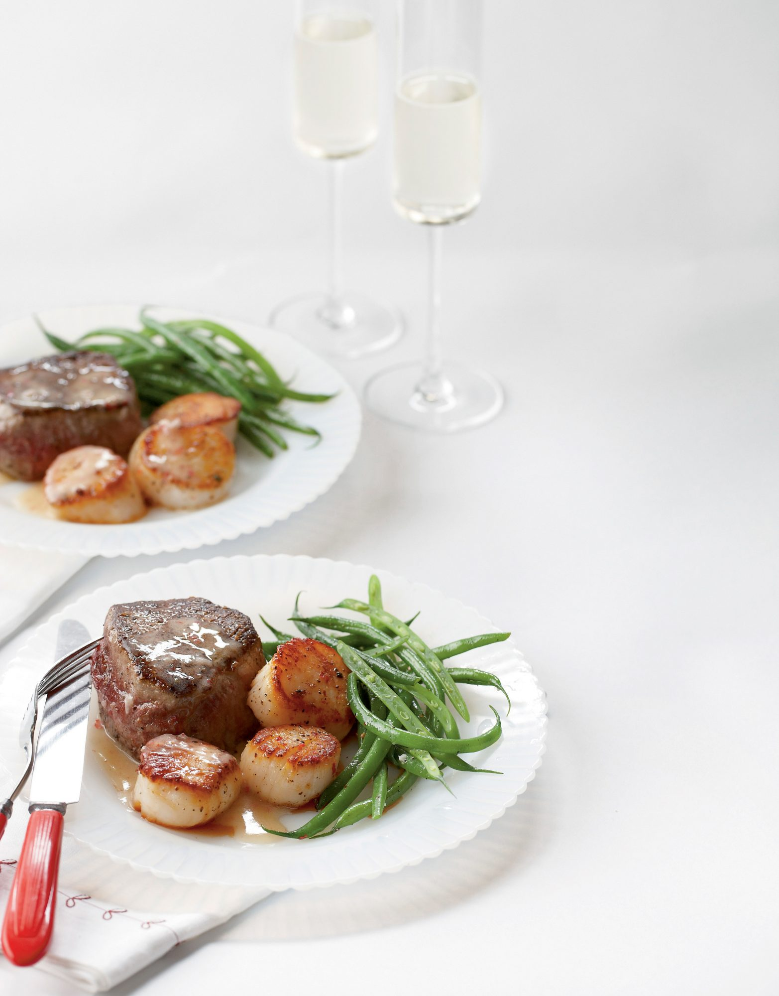 Steak and Scallops with Champagne-Butter Sauce