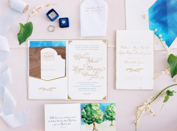 Pink and Blue Wedding Stationery Suite