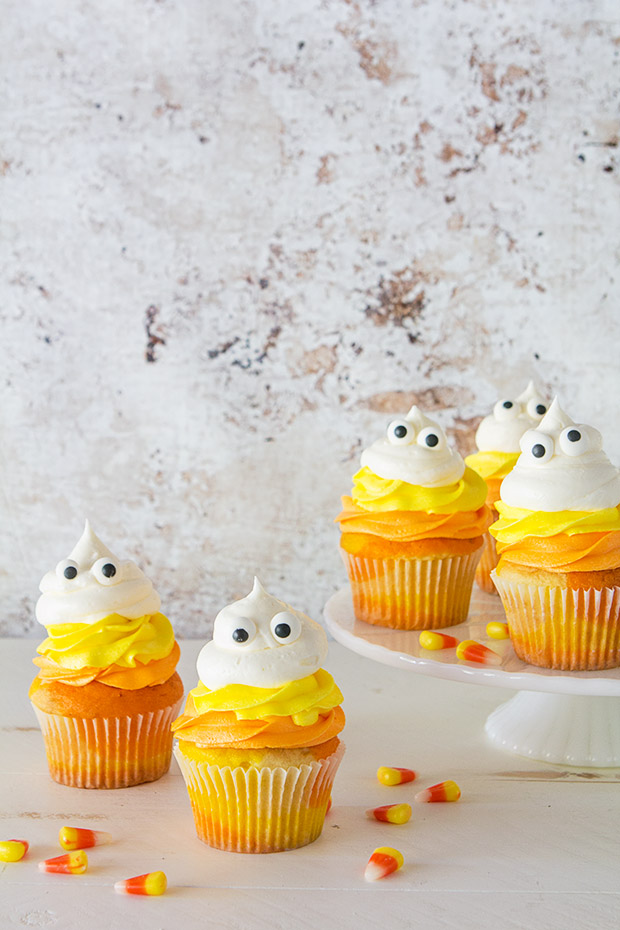Candy Corn Ghost Cupcakes