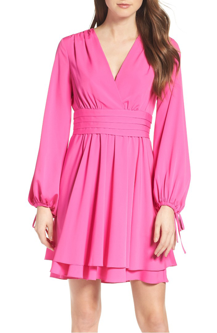 Tie Sleeve Fit & Flare Dress