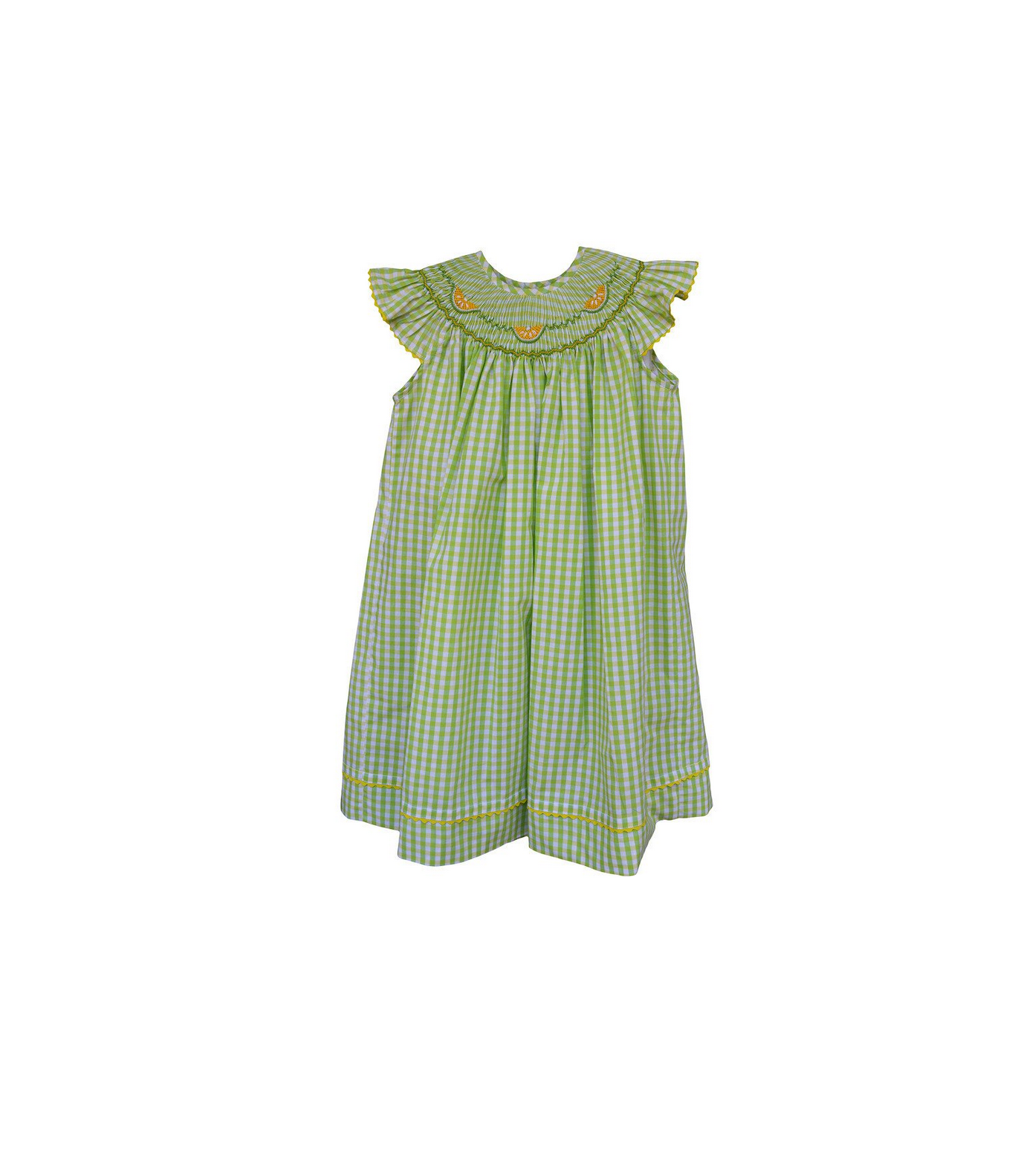 Green Checkered Bishop Dress with Yellow Spring Lemons