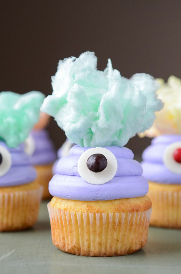 Cotton Candy Monster Cupcakes