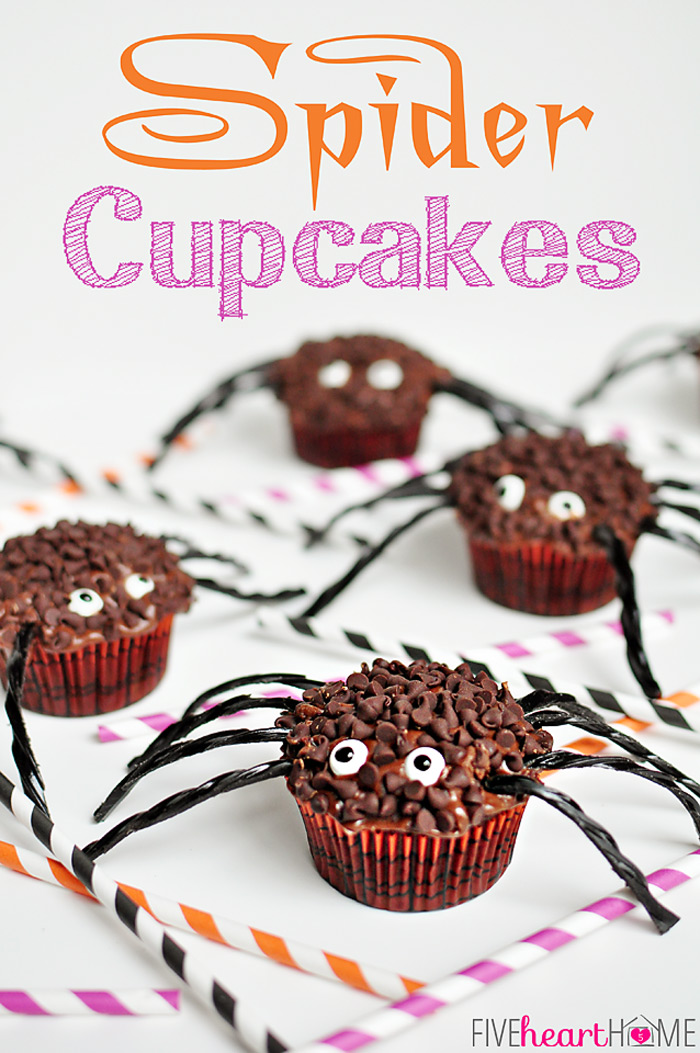 Candy Eye Spider Cupcakes
