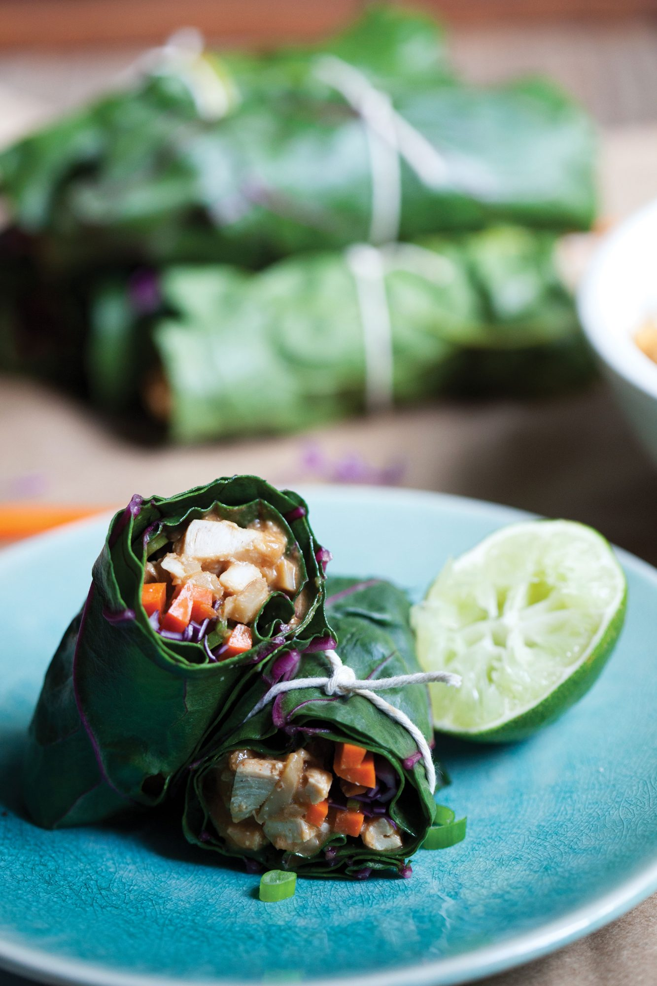 Spicy Asian Chicken Collard Cups Laura Lea Goldberg