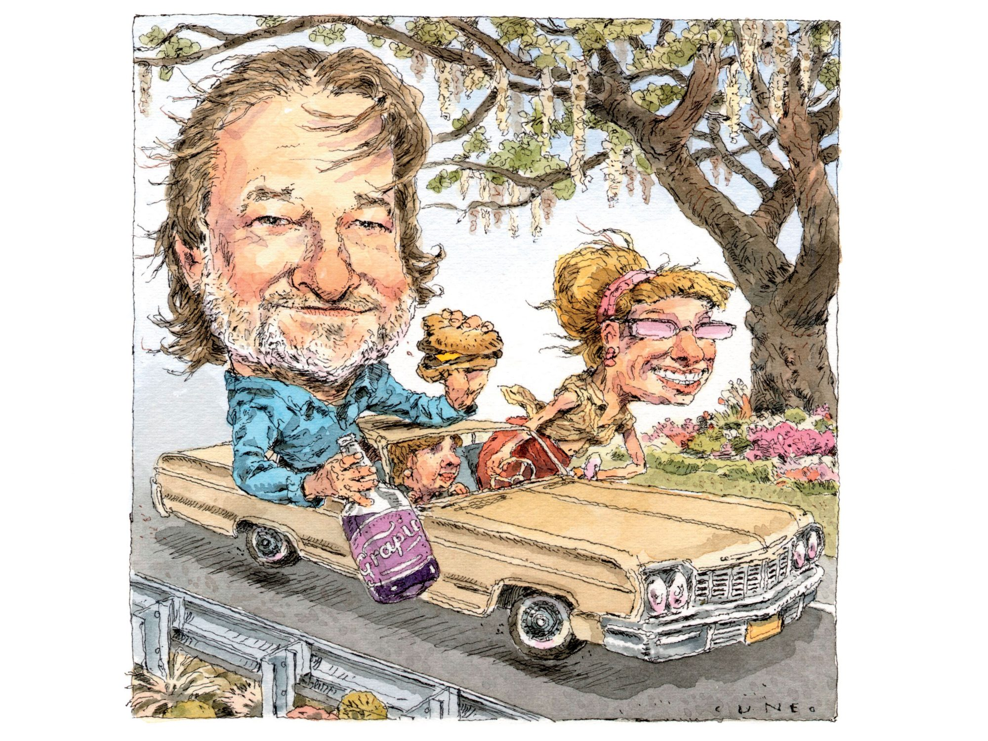 Rick Bragg in Car