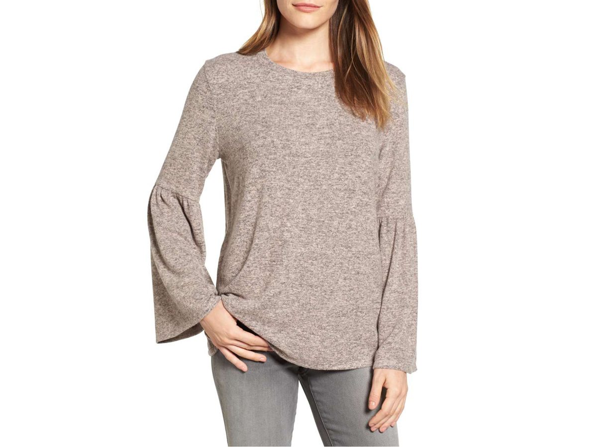 Bell Sleeve Cozy Fleece Pullover
