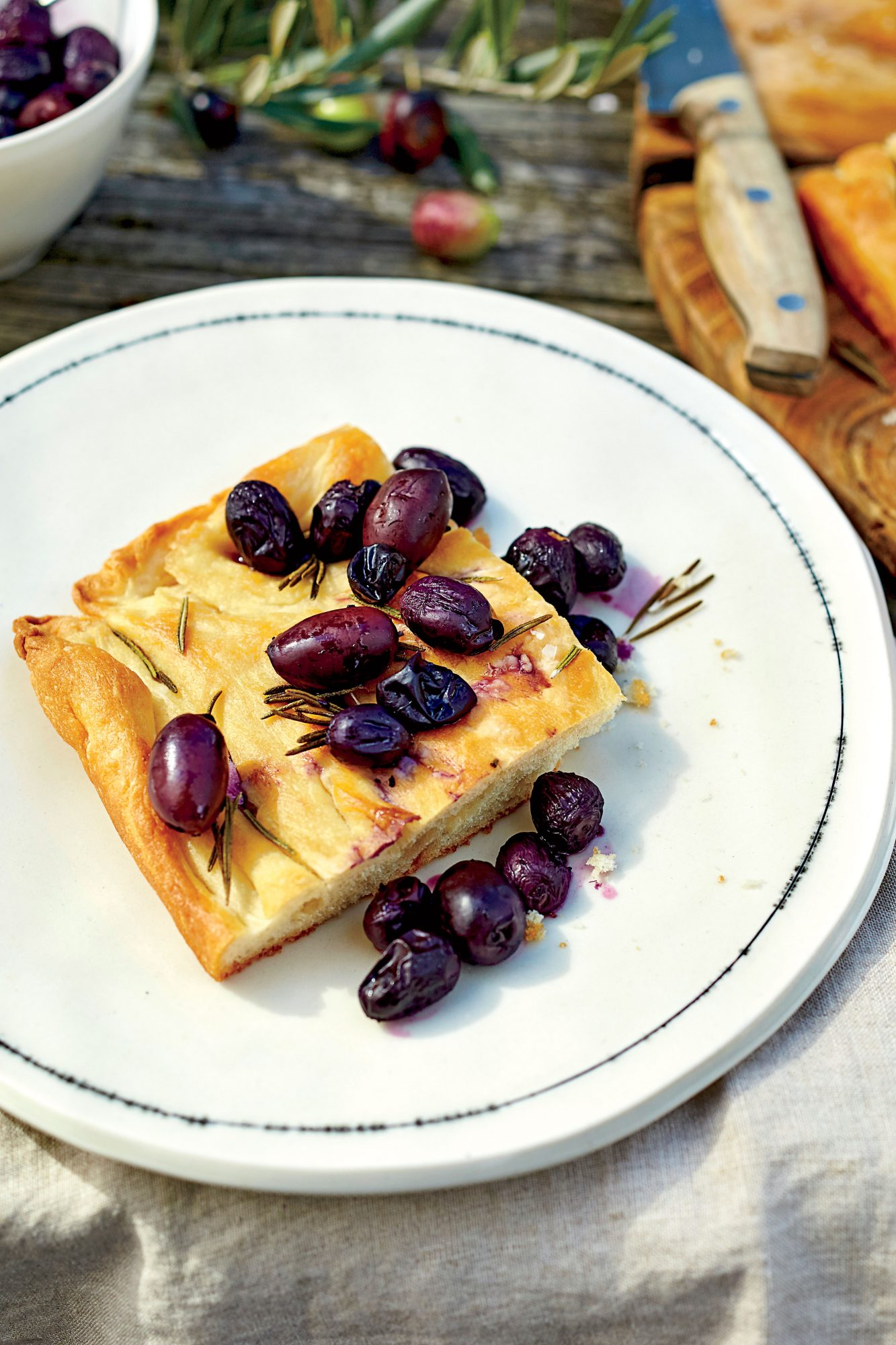 Rosemary Focaccia with Stewed Grapes and Olives Recipe Dawn Perry