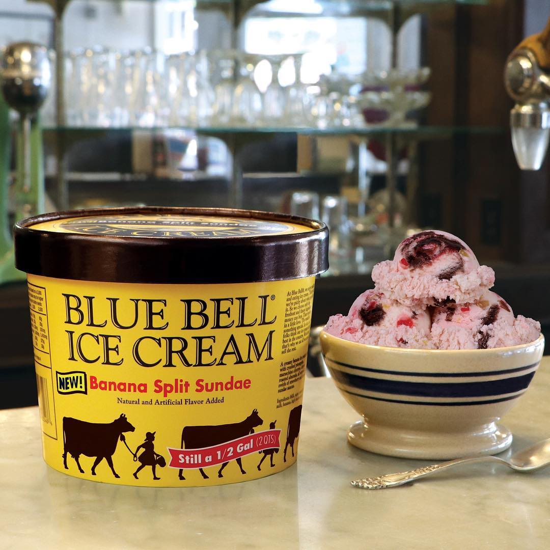 bluebell banana split ice cream