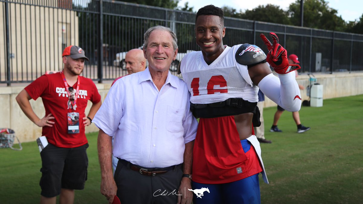 George Bush with SMU Football Player