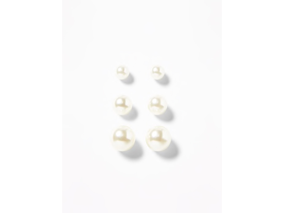 Faux-Pearl Stud Earrings