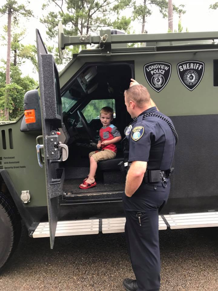 police surprise boy with swat car