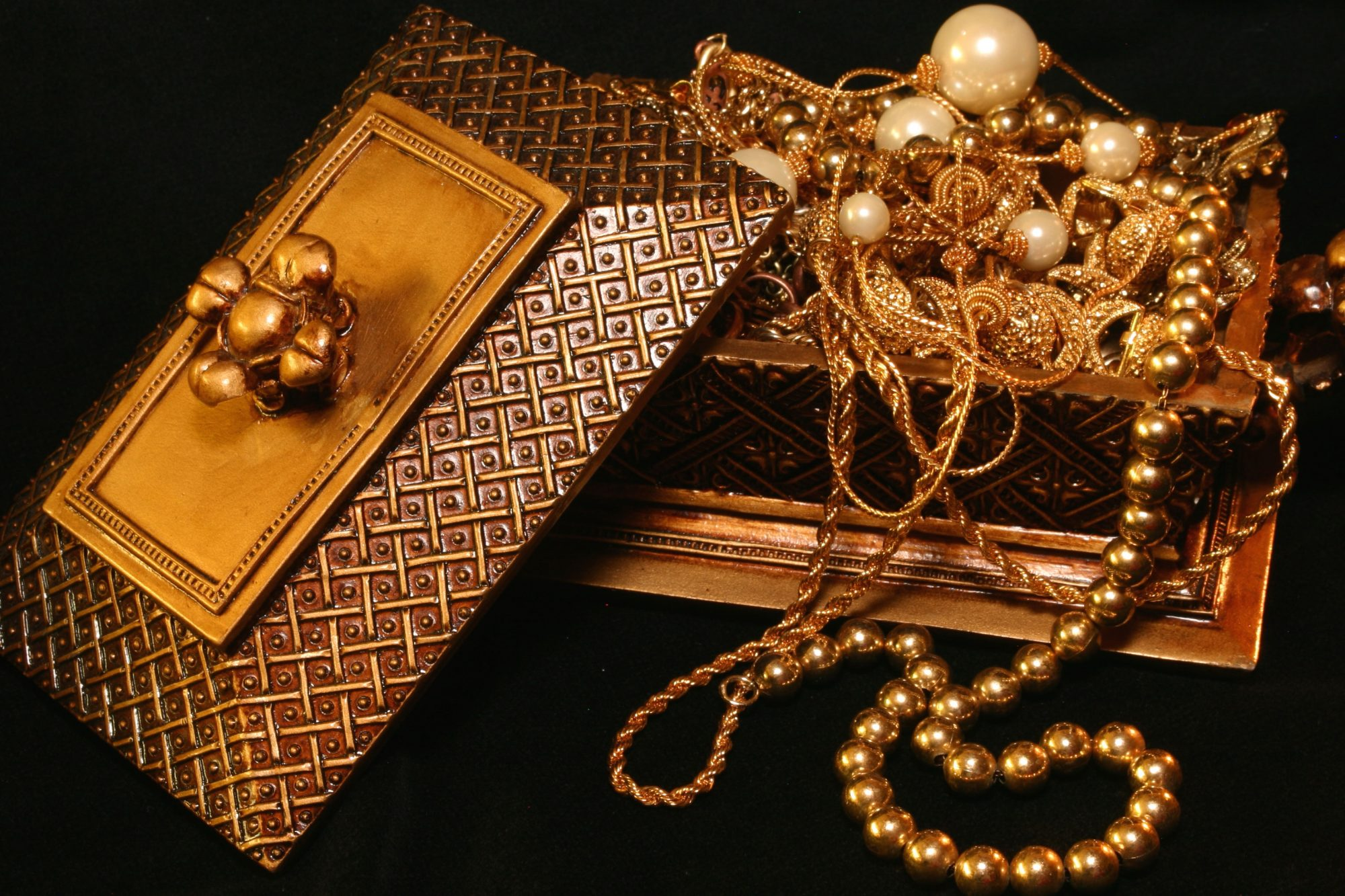 Jewelry Box with Tangled Necklaces