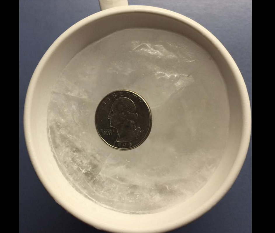 Why you should put a quarter on top of a cup of frozen water before evacuating in a hurricane