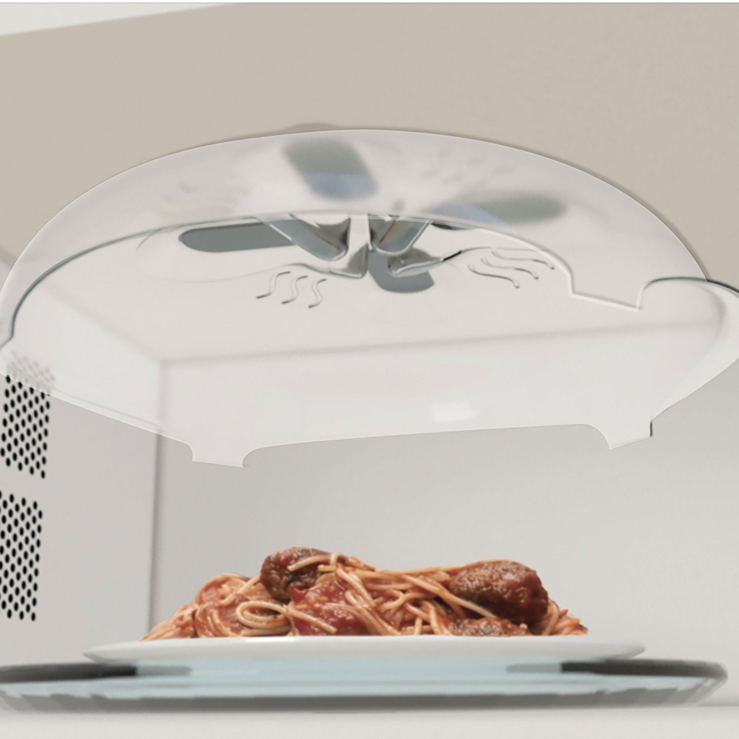 Splatter Tool Affixed Top of Microwave