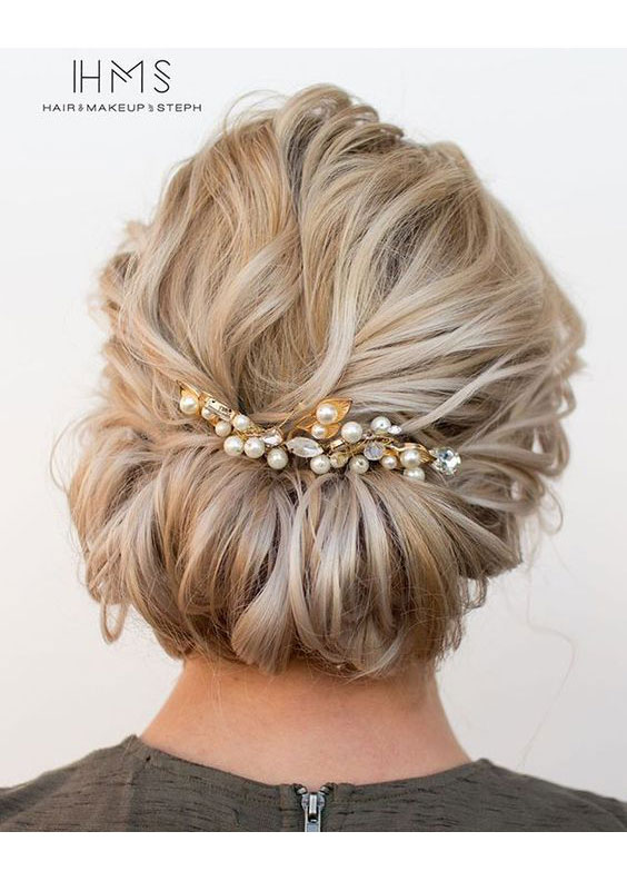 Tucked Updo with Pretty Pearls