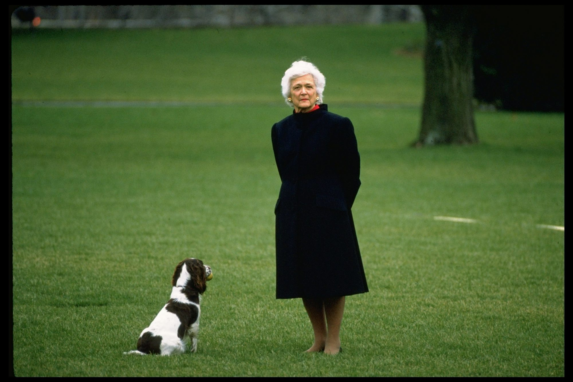 Barbara Bush with dog Millie 1989
