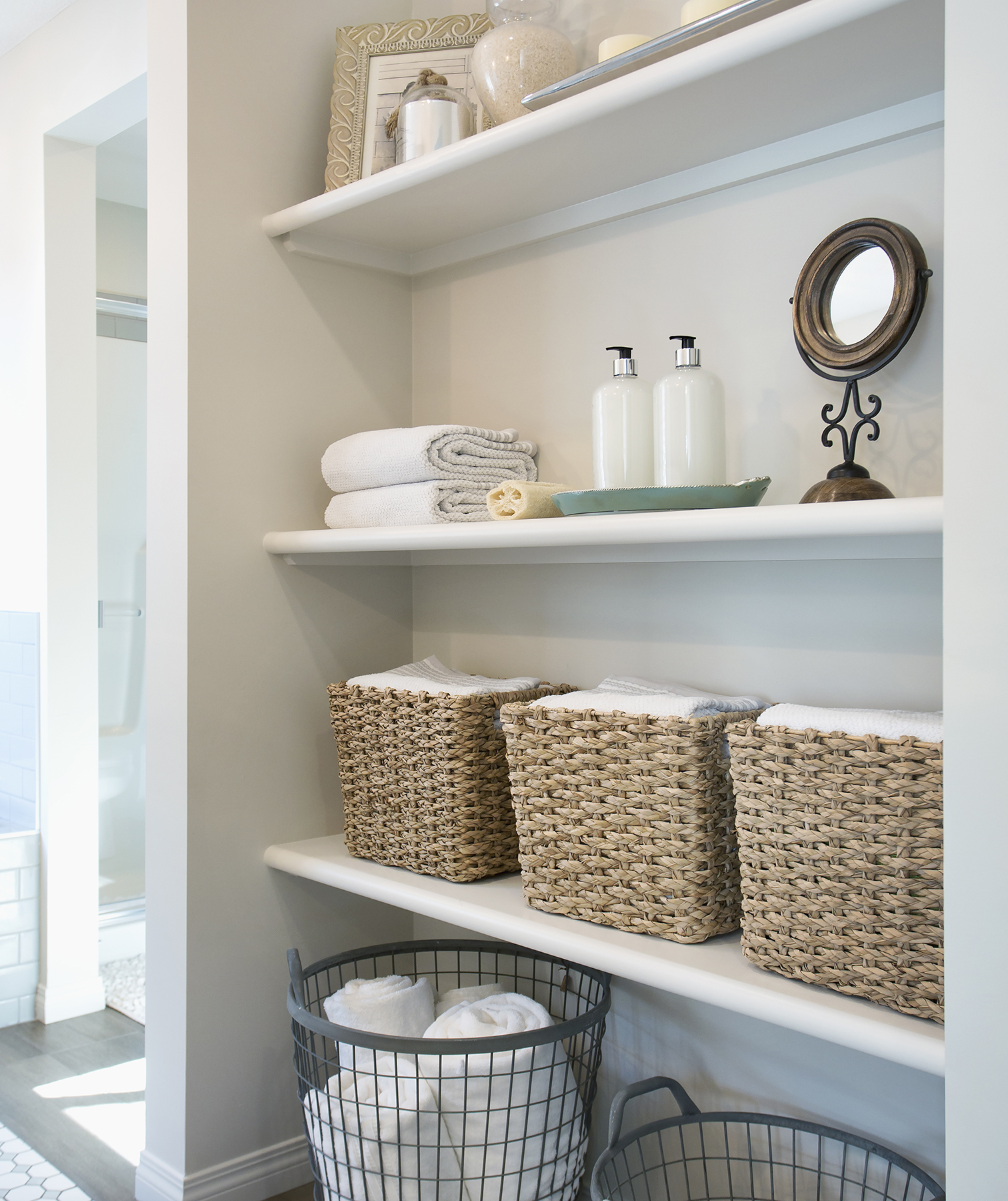 Bathroom shelves with bins
