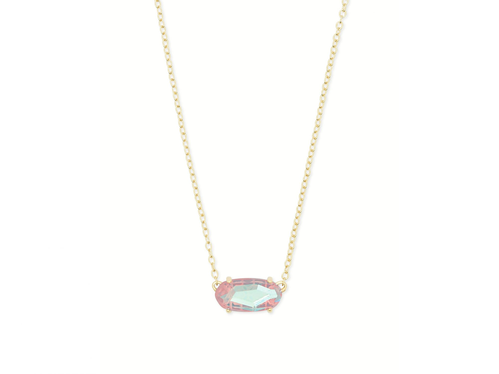 Kendra Scott Elisa Silver Pendant Necklace In Light Pink Drusy