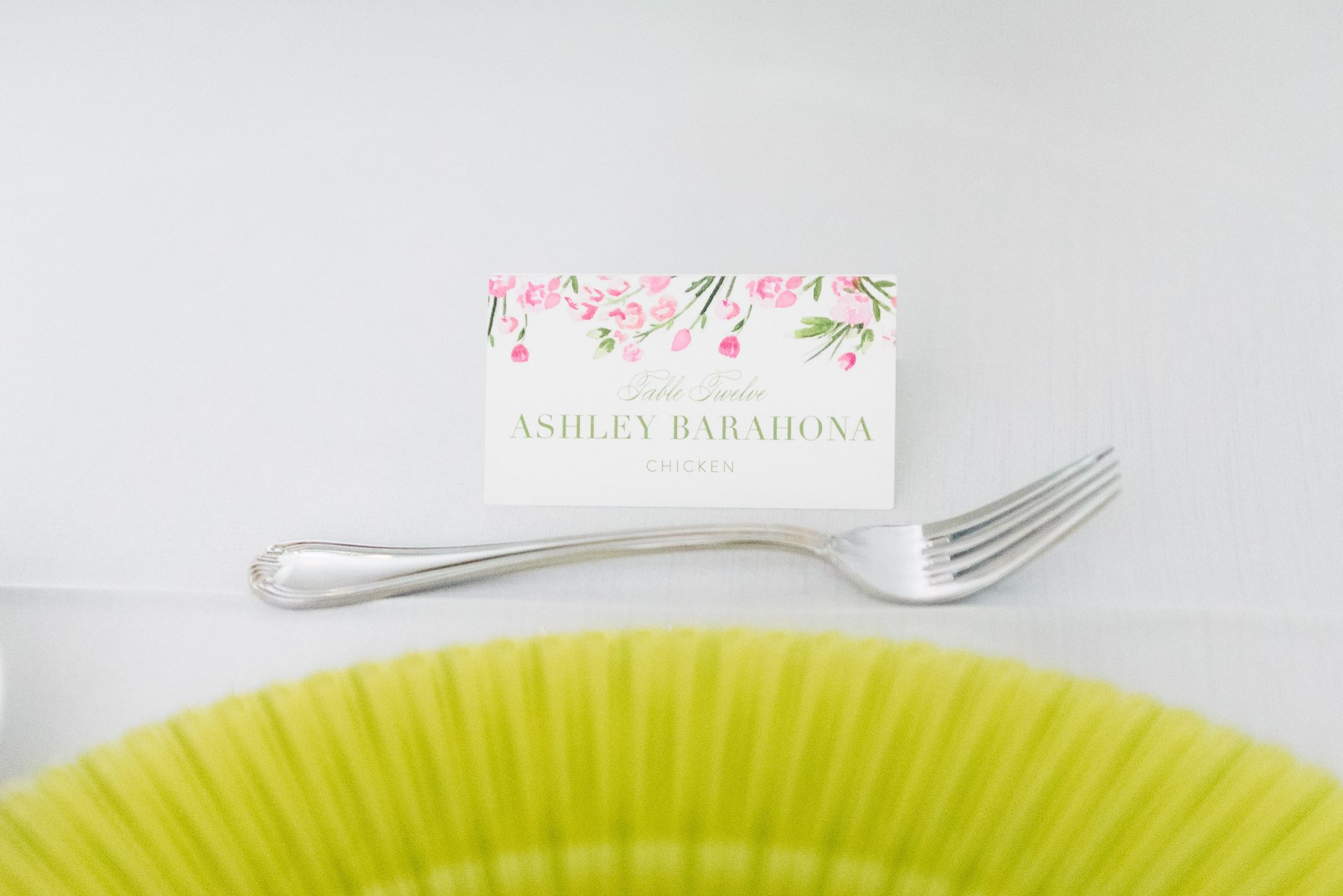 Pink and Green Petal Place Cards