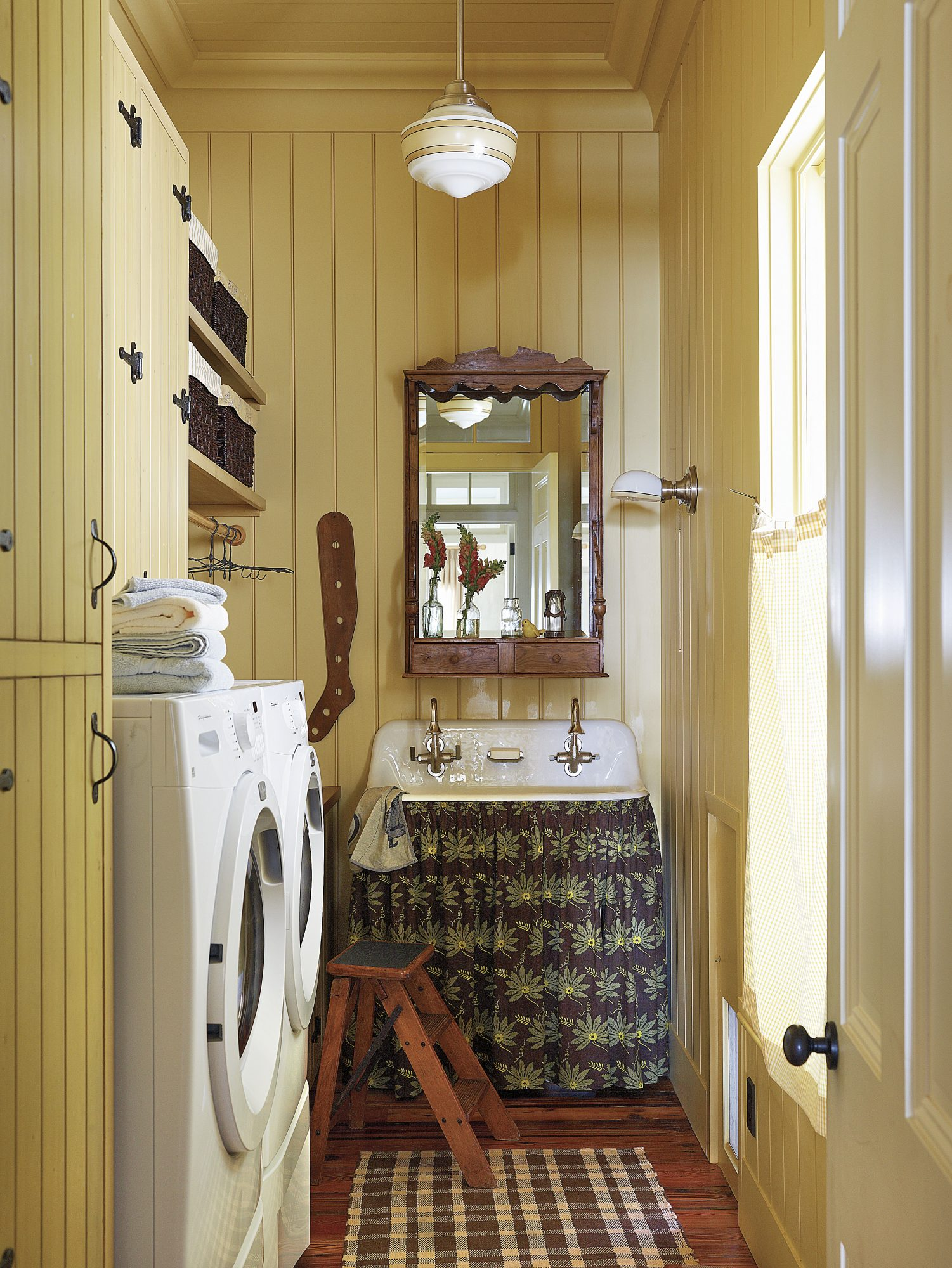 Yellow Mudroom and Laundry Room