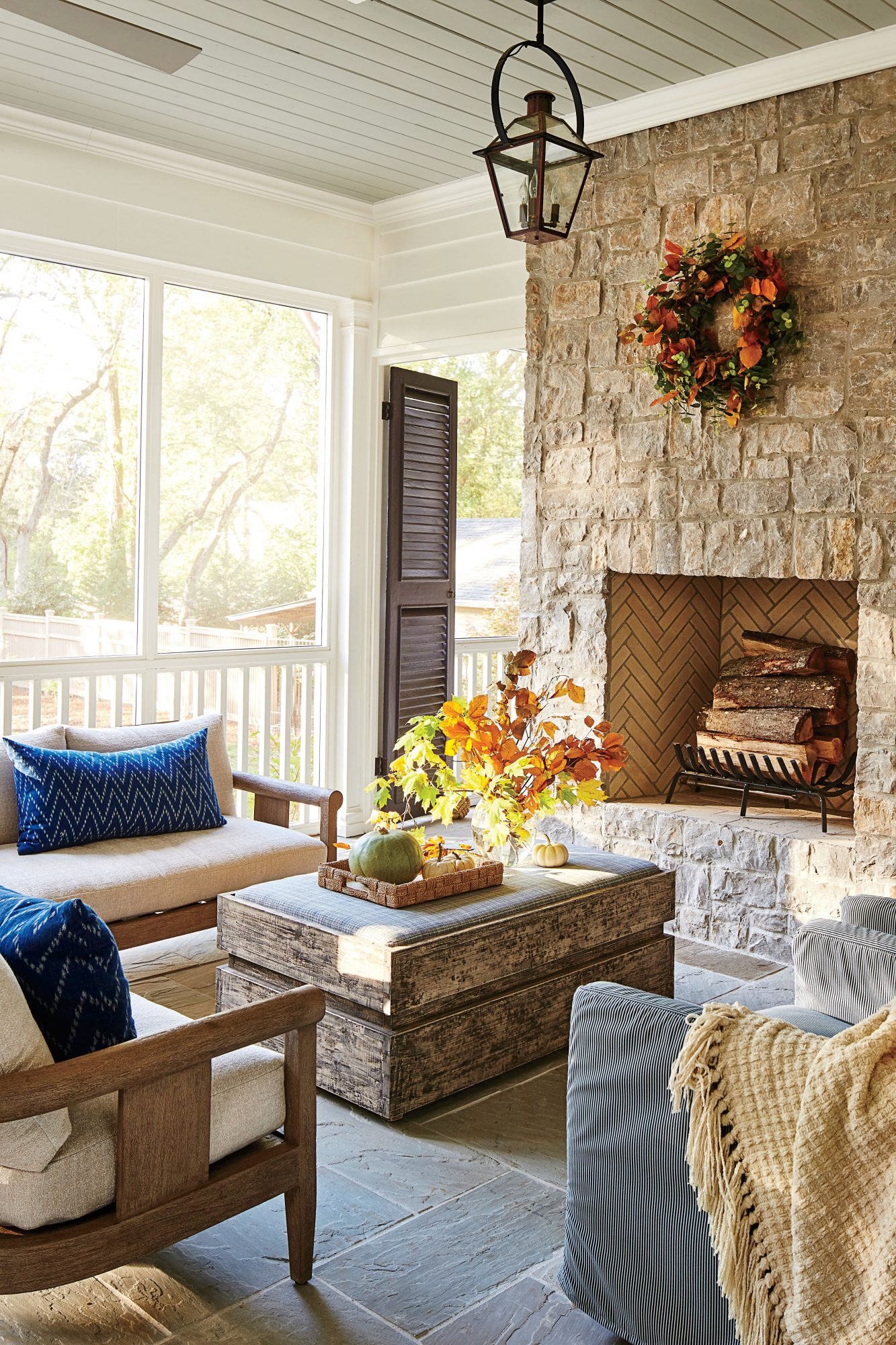 Screened Porch with a Stone Fireplace