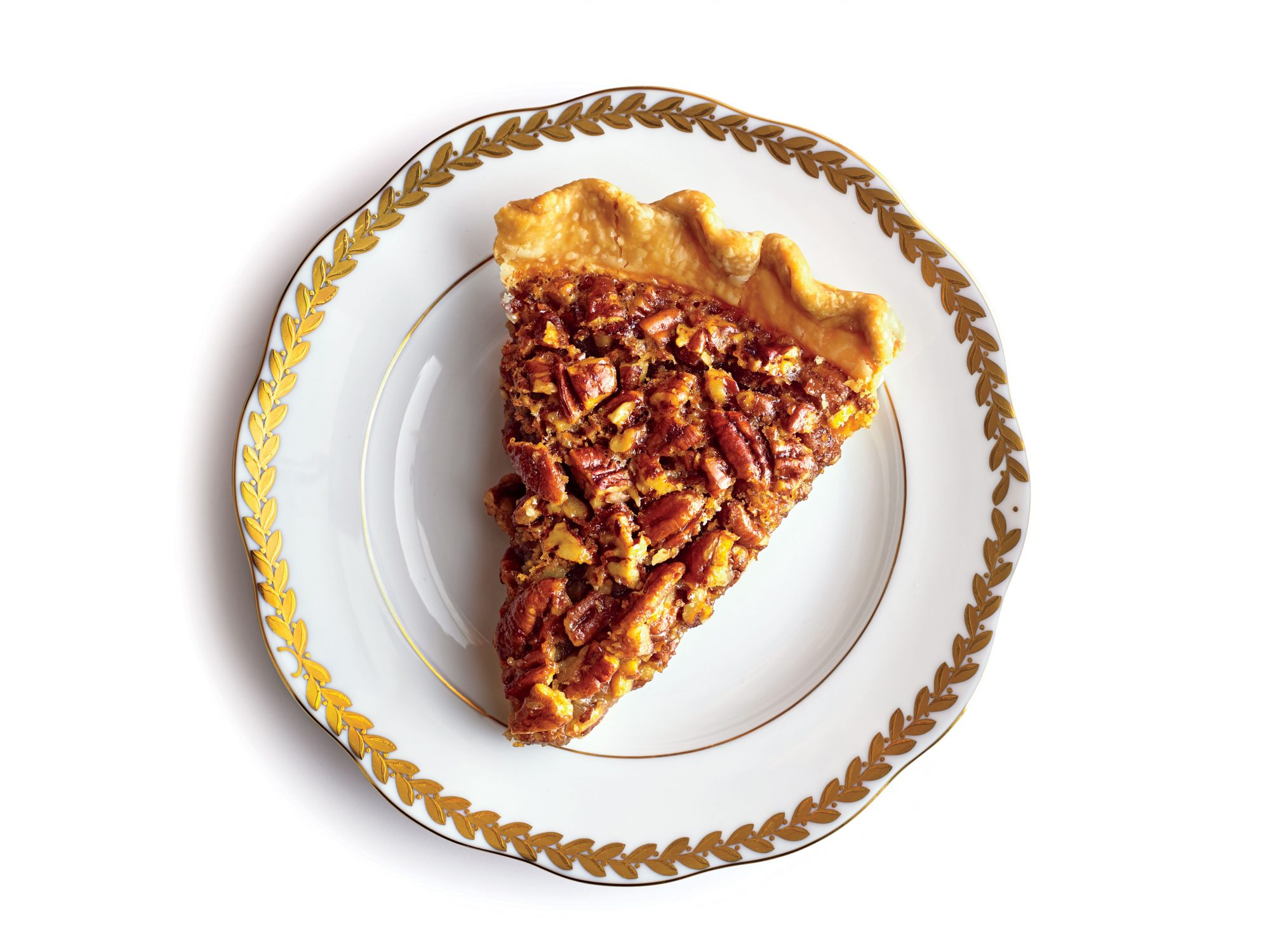 Pecan pie slice on plate
