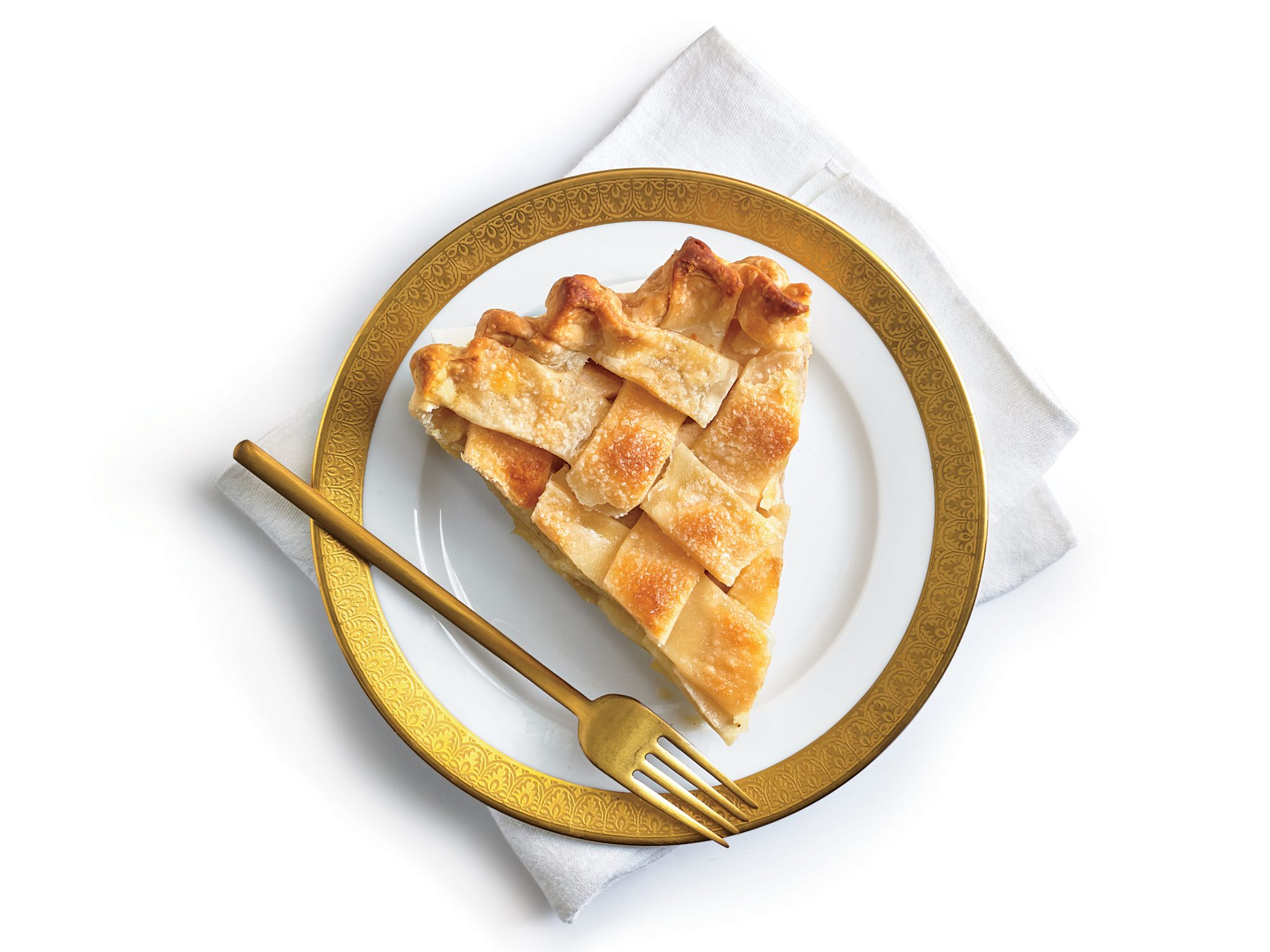 Apple Pie with lattice crust on plate