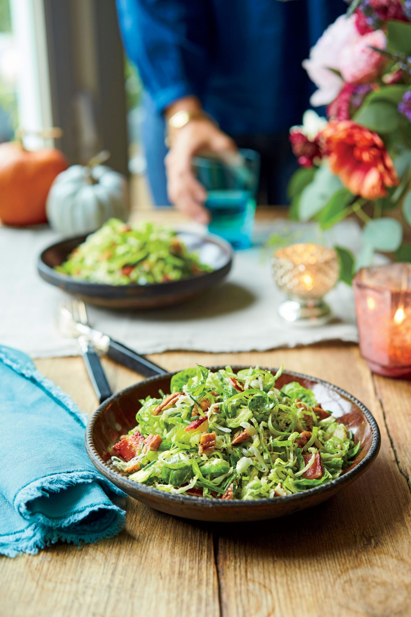 Brussels Sprout-and-Leek Slaw with Bacon and Pecans Recipe Sheri Castle