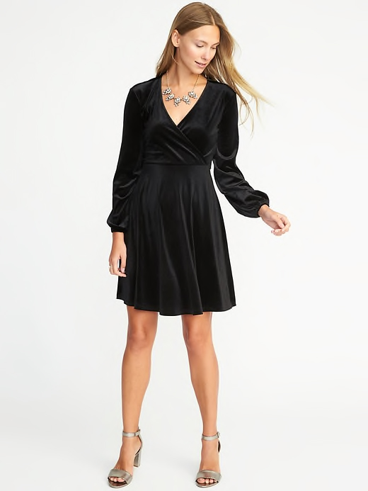 Old Navy Fit & Flare Velvet-Knit Dress