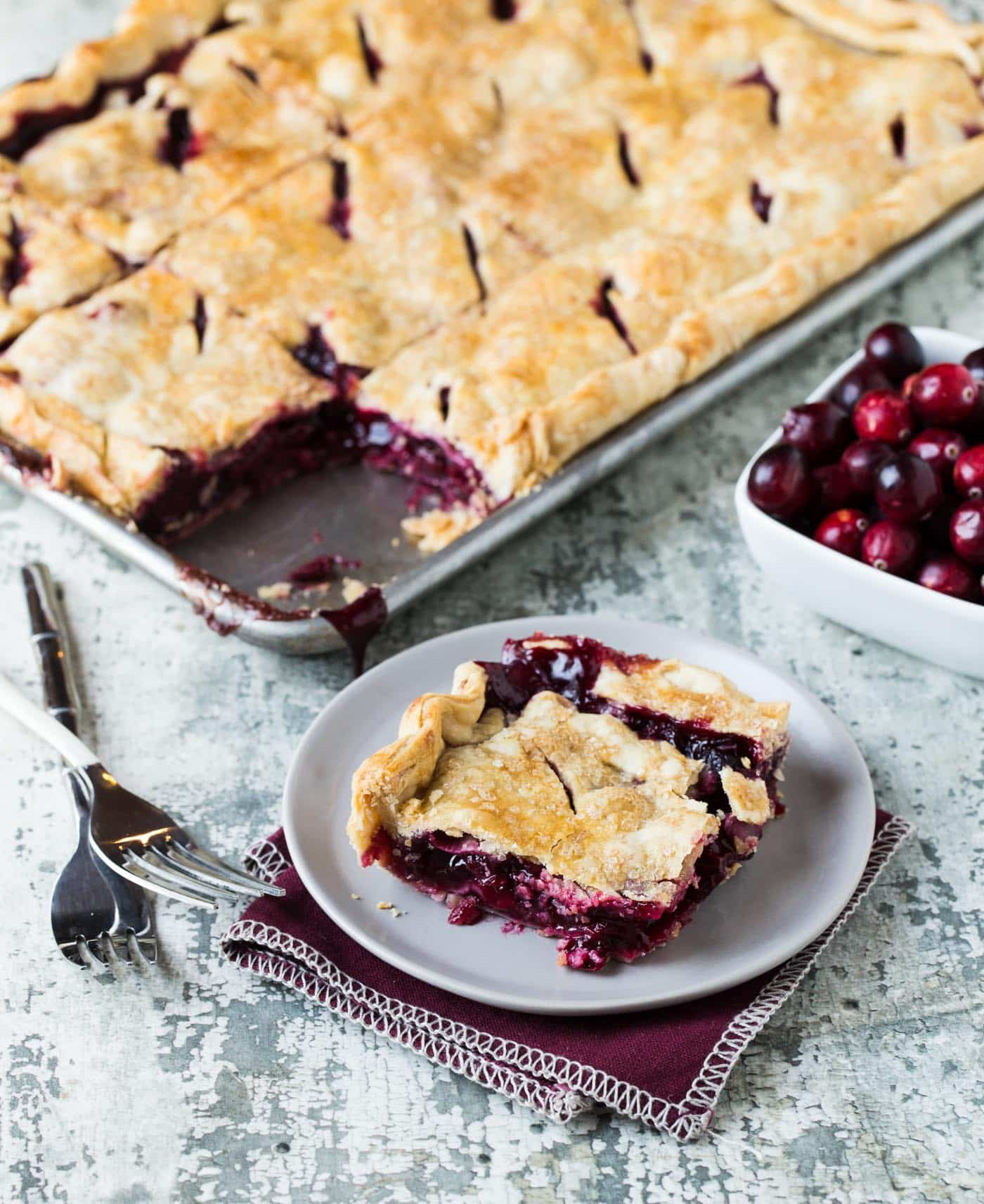 Cranberry Cherry Slab Pie